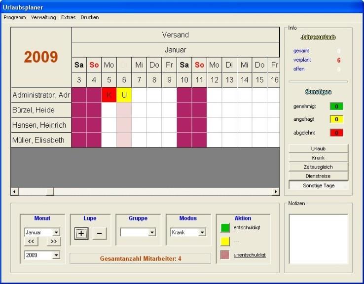 Screenshot 1 - Uwisoft Urlaubsplaner