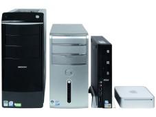 PCs im Größenvergleich: Medion Akoya P7300D, Dell Inspiron 530DT, MSI Wind PC 2316XP, Apple Mac mini