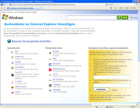 Internet Explorer 7: Suchdienste festlegen