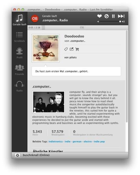 Screenshot 1 - Last.fm Scrobbler (Mac)