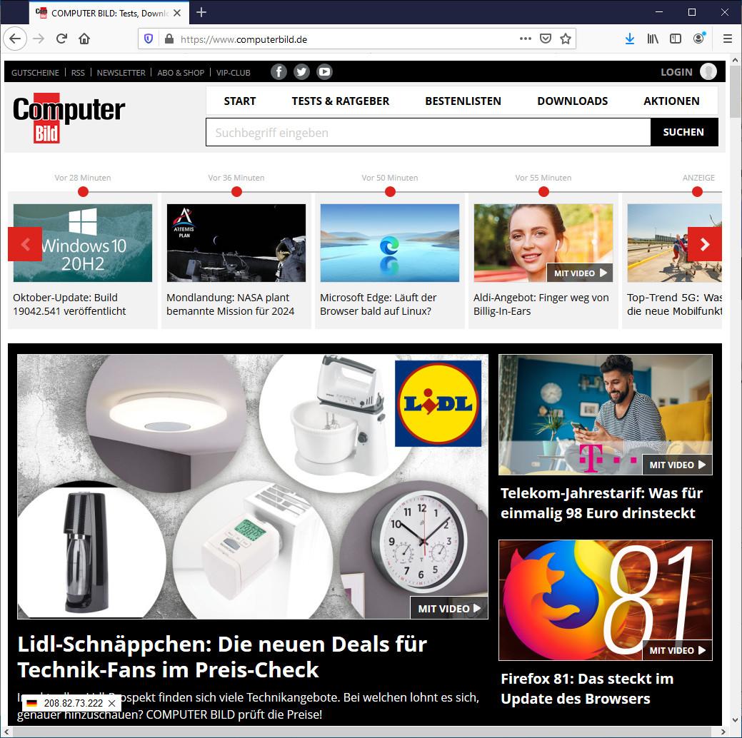 Screenshot 1 - Server IP für Firefox