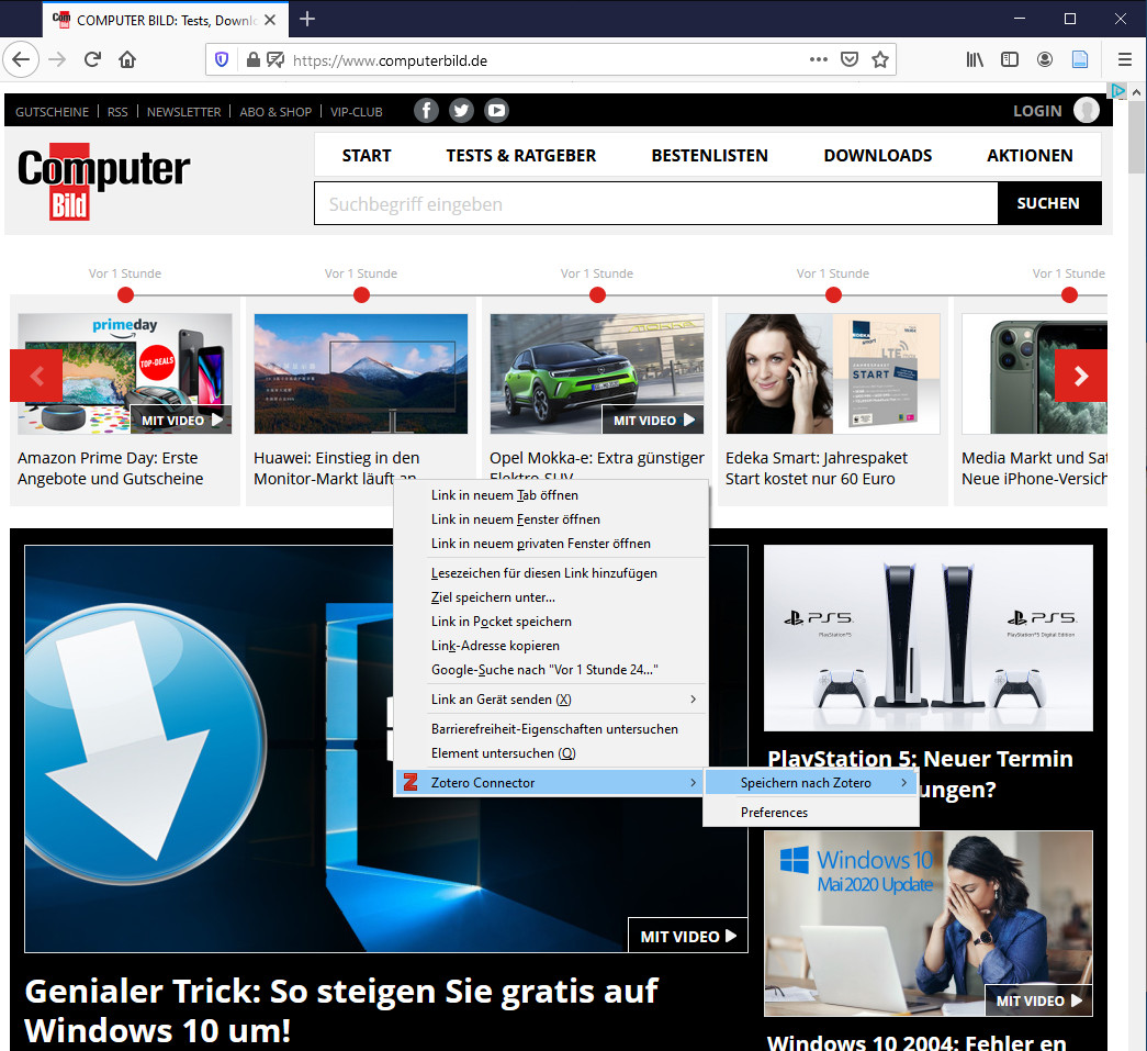 Screenshot 1 - Zotero Connector für Firefox