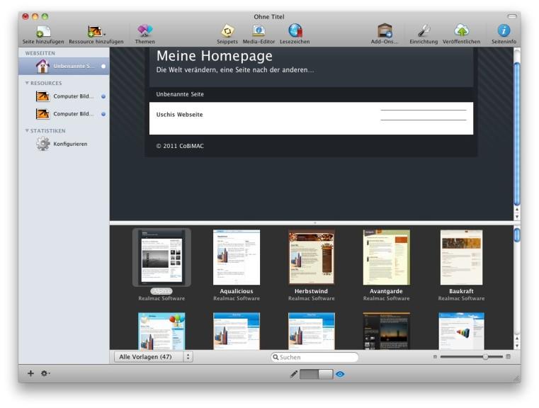 Screenshot 1 - RapidWeaver (Mac)