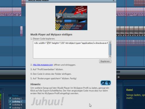 Magix Music Maker: Musik-Player auf MySpace einfügen