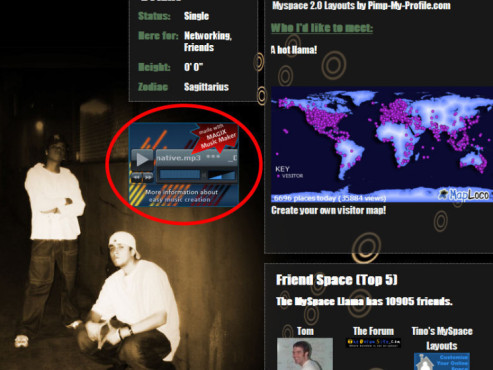 Magix Music Maker: Screenshot MySpace-Profil