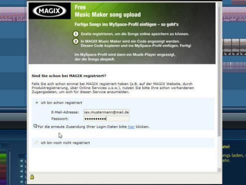 Magix Music Maker: Screenshot Registrierung