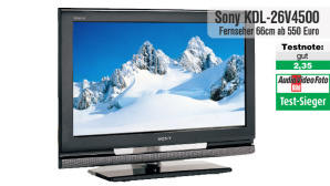 Testsieger Sony KDL-26V4500