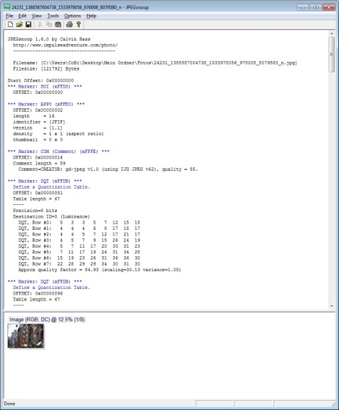 Screenshot 1 - JPEGsnoop