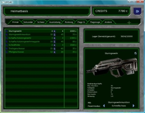 Strategiespiel UFO - Alien Invasion: Sturmgewehr © UFO: Alien Invasion Team