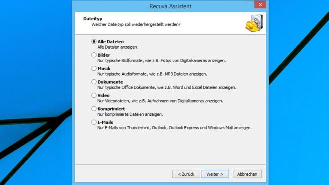 Zu rettenden Dateityp angeben ©COMPUTER BILD