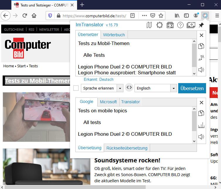Screenshot 1 - ImTranslator für Firefox