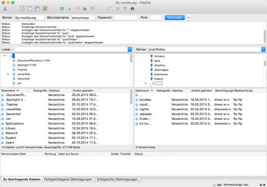 Screenshot 1 - FileZilla (Mac)