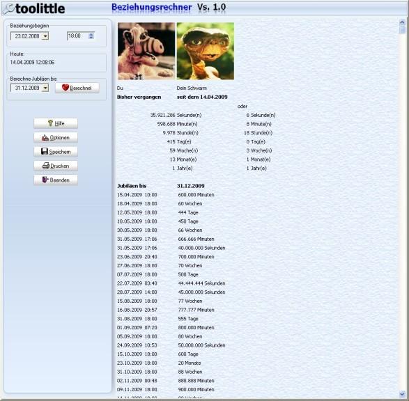 Screenshot 1 - Beziehungsrechner