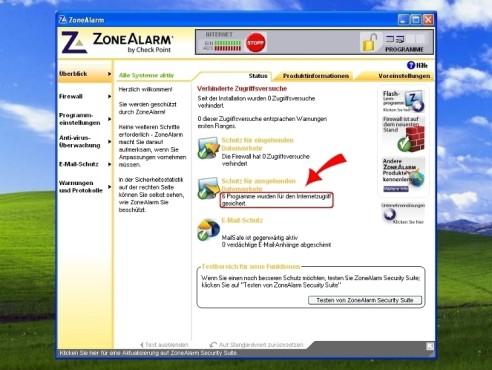 ZoneAlarm: Benutzeroberfläche