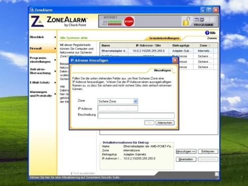 ZoneAlarm: Computer zur sicheren Zone hinzuzufügen