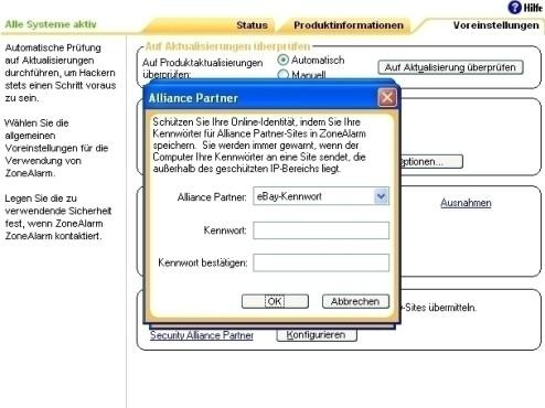 ZoneAlarm: Schutz vor Übertragung des Ebay-Passworts