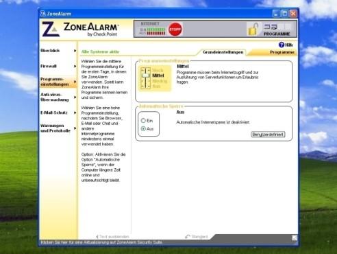 ZoneAlarm: Programme