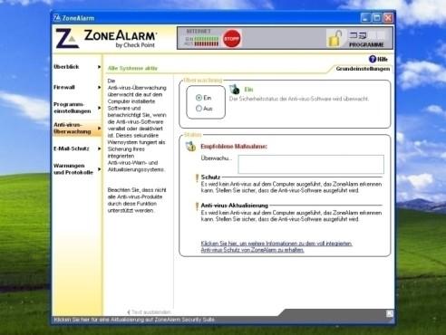 ZoneAlarm: Anti-Virus-Überwachung
