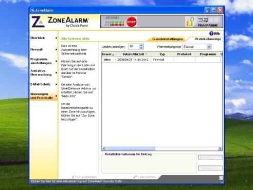 ZoneAlarm: Protokollanzeige