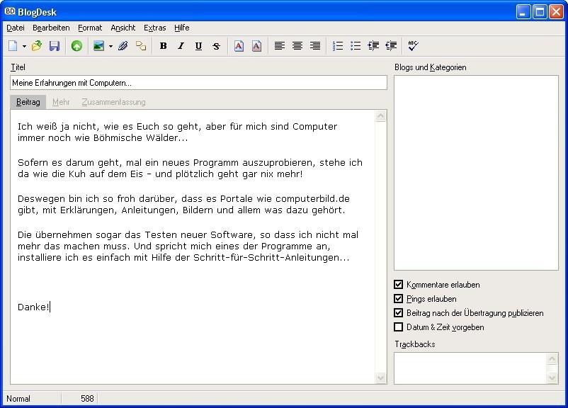 Screenshot 1 - BlogDesk