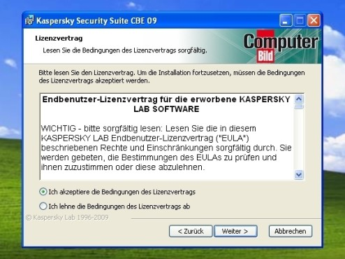 Lizenzvertrag: Kaspersky Security Suite CBE 09