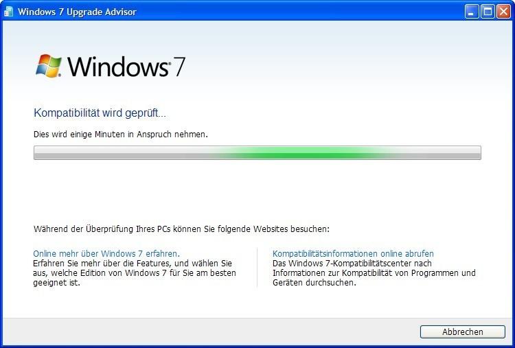Screenshot 1 - Windows 7 Upgrade Advisor