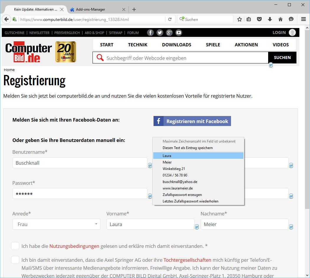 Screenshot 1 - InFormEnter für Firefox