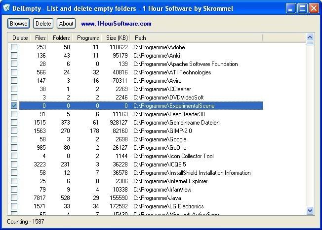 Screenshot 1 - DelEmpty