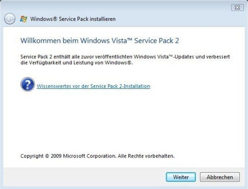 Windows Vista SP2: Installation