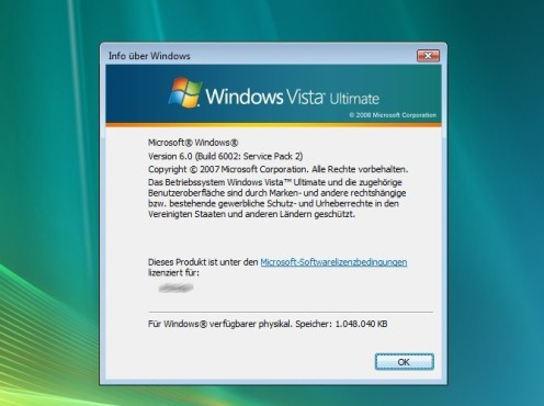 Windows Vista SP2: Vista-Version
