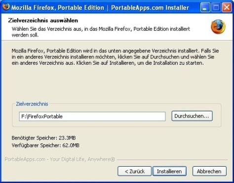 Firefox Portable: Pfad