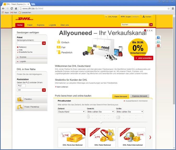 Screenshot 1 - DHL: Porto für Pakete & Päckchen berechnen und online kaufen