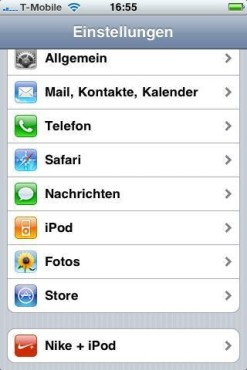 Apple iPhone 3GS: Einstellungen