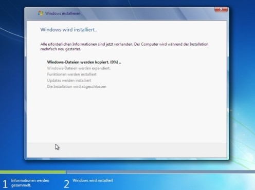 Windows 7 Installation: Kopieren