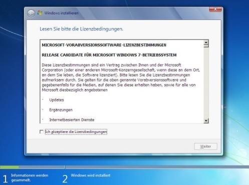 Windows 7 Installation: Lizenz