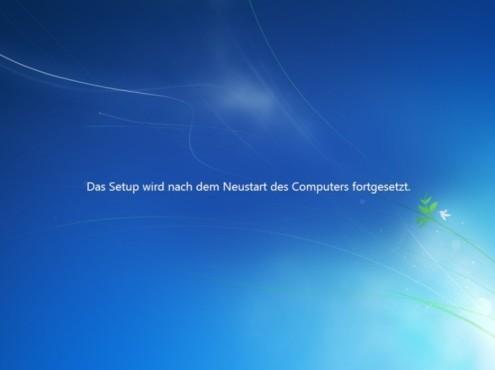 Windows 7 Installation: Neustart