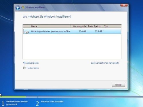 Windows 7 Installation: Partition