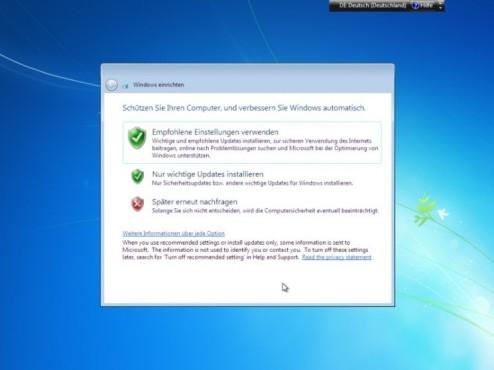 Windows 7 Installation: Sicherheit