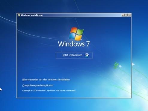 Windows 7 Installation: Starten