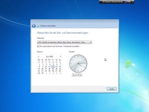 Windows 7 Installation: Uhrzeit