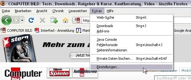 Startseite im Firefox einrichten Schritt 2