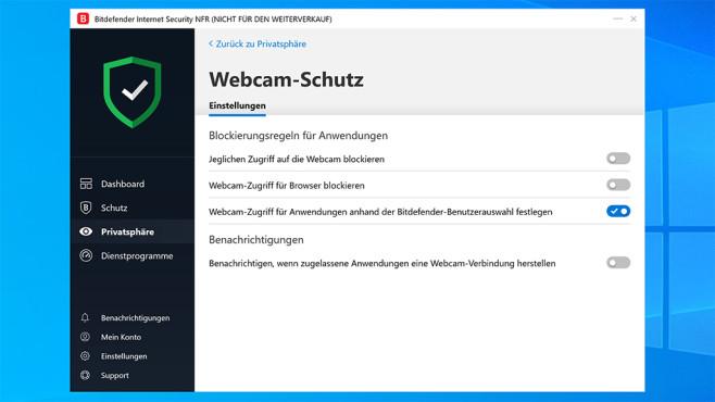 Webcam schützen mit Bitdefender Internet Security©COMPUTER BILD, Bitdefender, Microsoft