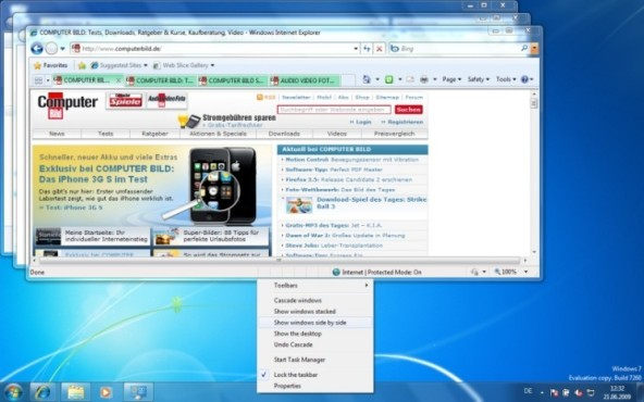 Windows 7: Fenster neu sortieren