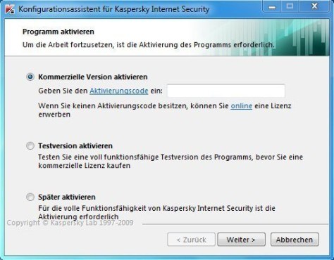 Kaspersky Internet Security 2010: Aktivieren