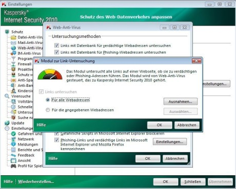 Kaspersky Internet Security 2010: Linkwarnung