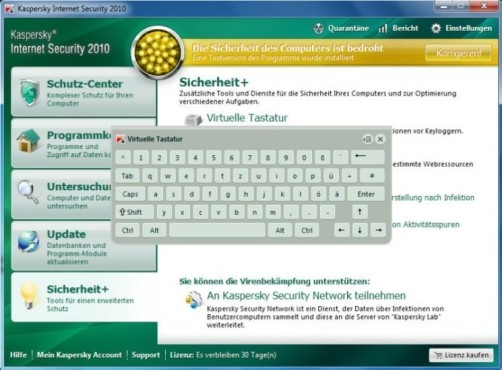 Kaspersky Internet Security 2010: Virtuelle Tastatur