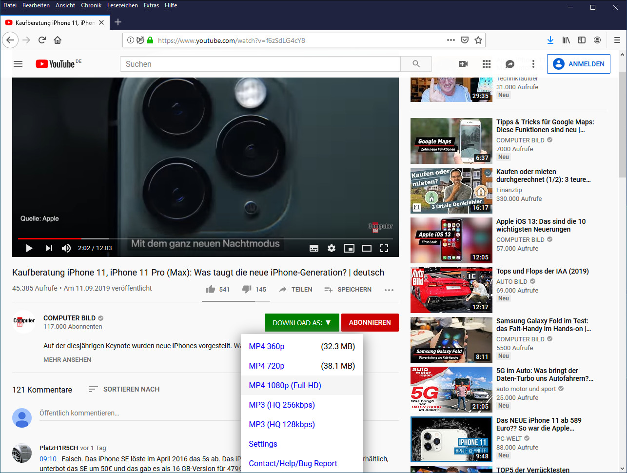 Screenshot 1 - Easy YouTube Video Downloader Express für Firefox