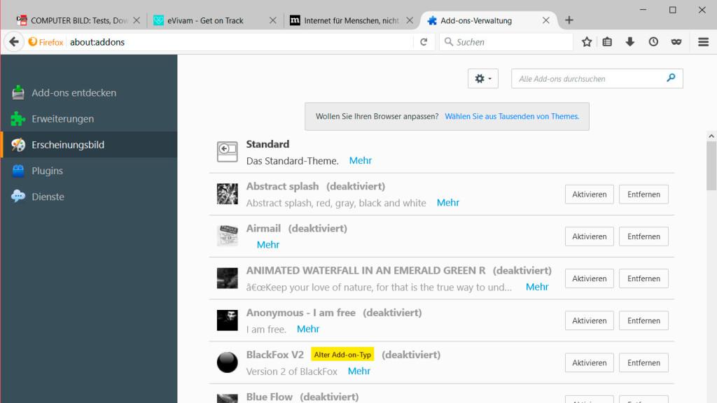 Firefox startseite hintergrund andern