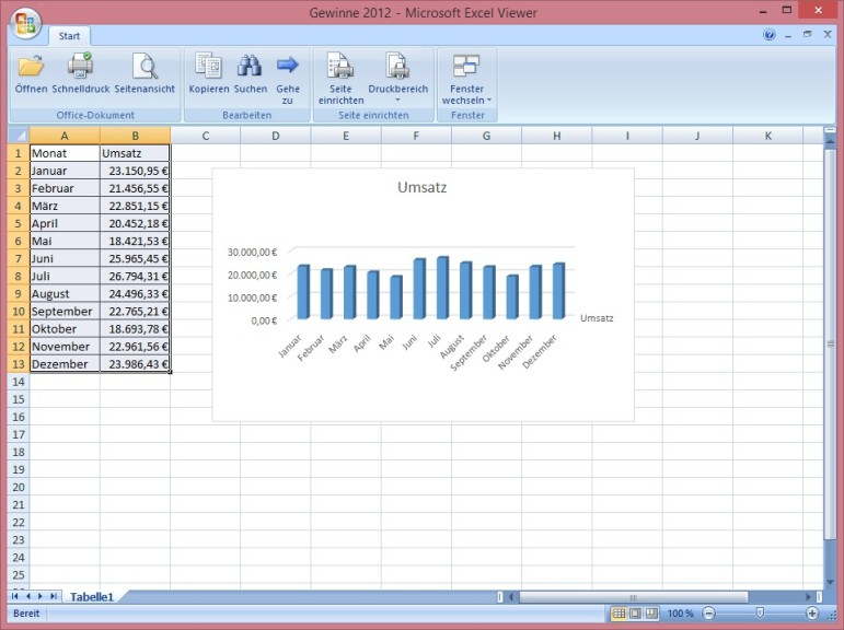 Screenshot 1 - Excel Viewer