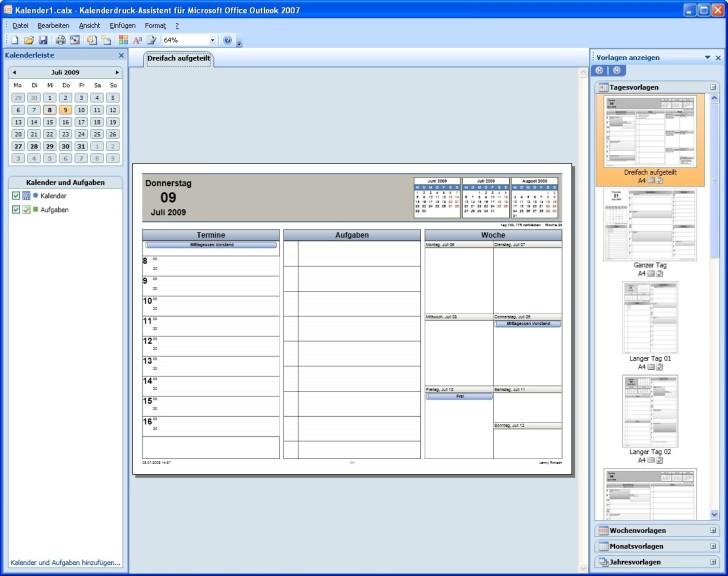 Screenshot 1 - Microsoft Kalenderdruck-Assistent für Outlook 2007